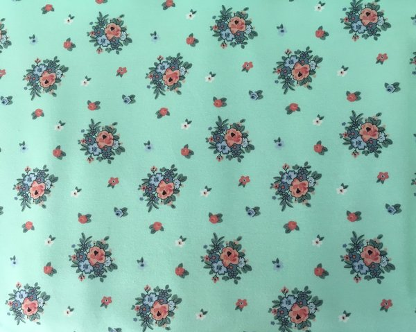 French Terry Boho Flowers mint